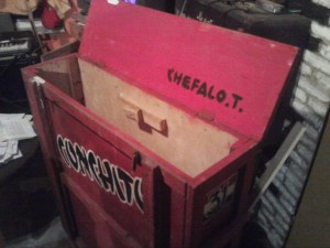 The box holding Conchito's table, showing Chefalo's name on the lid.